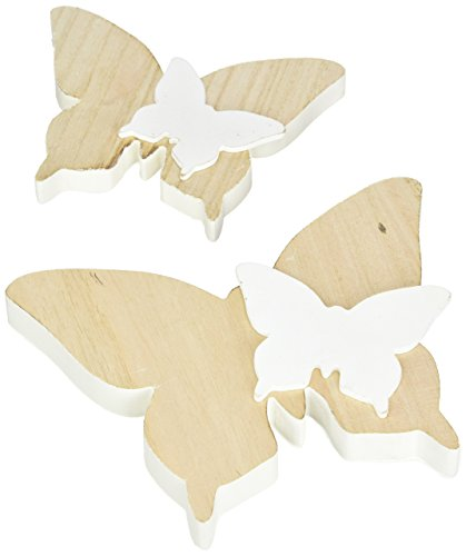 HEITMANN DECO 2 Schmetterlinge aus Holz mit kleinen Schmetterlingen - Dekofiguren als Oster- und Frühlingsdeko - Natur, Weiß