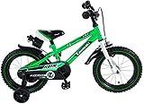Kawasaki Kinderfahrrad Jungen 14 Zoll mit Vorradbremse am Lenker und Rücktrittbremse, Stützräder...