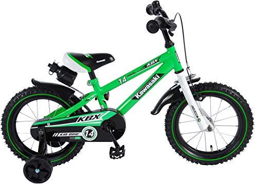 Kawasaki Kinderfahrrad Jungen 14 Zoll mit Vorradbremse am Lenker und Rücktrittbremse, Stützräder Grün 95% Zusammengebaut