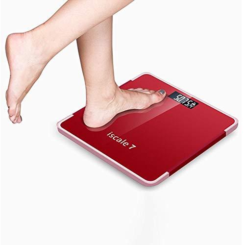 WYL ¡Gran Venta!180kg baño de Grasa Corporal IMC Peso balanza Digital Humano Mi básculas de Piso LCD del Index Elegante electrónico Equipos de excavación (Color : Red)