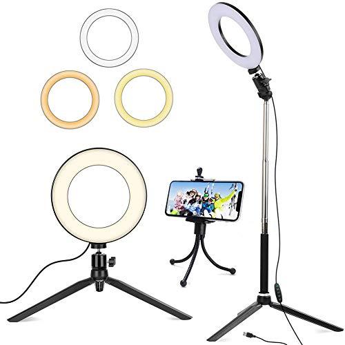 Luz de Anillo de 6con trípode para Selfie/Makeup Live Stream y Video de Youtube Luz LED de cámara con 3 Modos de luz y 11 Niveles de Brillo y con Soporte para teléfono móvil (Black)