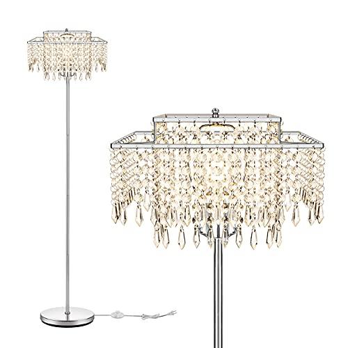 Double Layer Lampshade Crystal Floor Lamp for Bedroom,Floor Lamp for Living Room,Elegant Standing Lamp,61.57