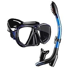 Dorlle Snorkel Set Snorkling Set med Snorkel och dykning Goggles,Vattentät Dykning Mask Anti-Fog Anti-Leak Härdat glas,med 3-kanals Premium Dry Snorkel för vuxna,Svart / Blå
