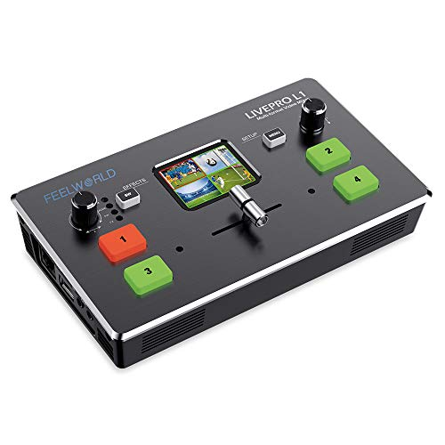 FEELWORLD LIVEPRO L1 4 x HDMI Inputs Multi Format Video Mixer Switcher USB 3.0 Output 2 Inch LCD Display Real Time Live Streaming Multi Camera Production