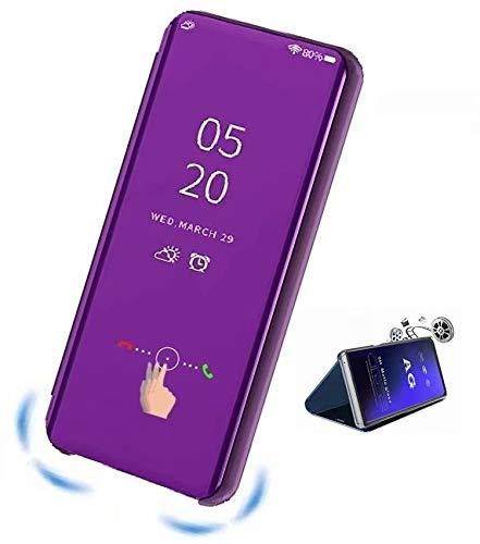 XJZ kompatibel mit Oppo F7/Realme 1/F7 Youth Smart Hülle(2018)+3D Panzerglas/Schutzhülle Premium Mirror Flip ständer Handyhülle Ultra Dünn Hülle Tasche Stoßstange für Oppo F7-Violett