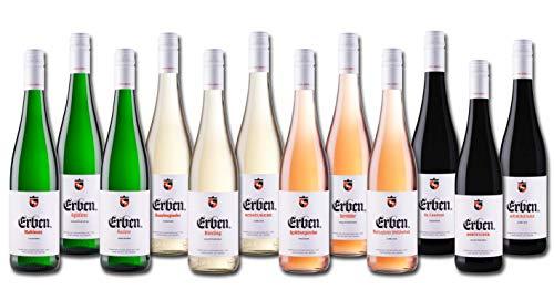 Große ERBEN Weinprobe 12 x 0,75l - Wein Set aus Deutschland Geschenkidee für Geburtstag Jubiläum Weihnachten Rotwein Roséwein Weißwein Anleitung