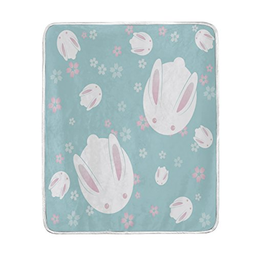 Use7 Wohndekoration, japanischer Hase mit Blumenmuster, weich, warm, für Bett, Couch und Sofa, leicht, für Reisen, Camping, 127 cm x 152,4 cm, Überwurfgröße für Kinder, Jungen und Frauen