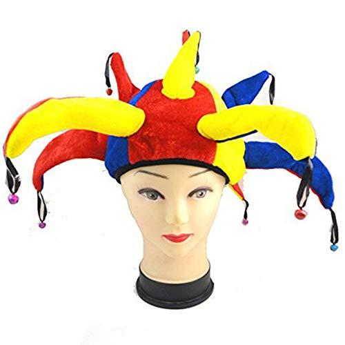Gorro de bufón Medieval Payaso Jester Cap with Bells - Disfraz de Adulto Carnaval y Halloween - Talla única Mujeres Hombres