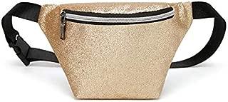 Waist Bag Women Fashion Sequins Fanny Packs Belt Bags Luxury Women PU Leather Solid Color Bum Bag Casual Belt Glitter Chest Bags (Color : Gold)
