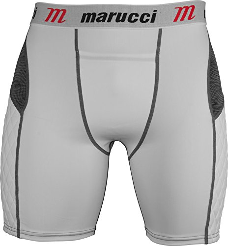 Marucci Youth Elite Padded Slider Shorts with Cup, Large, White