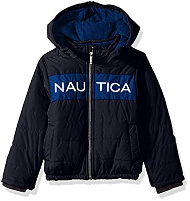 Nautica Boys' Toddler Water Resistant Signature Bubble Jacket with Storm Cuffs, Arthur Navy, 4T