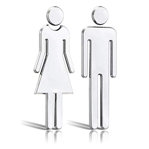 LUCY WEI 2er Set WC Schilder Selbstklebend - Frau+Mann WC Türschild,Toilettenschild,Kloschild für Bad, Hotel
