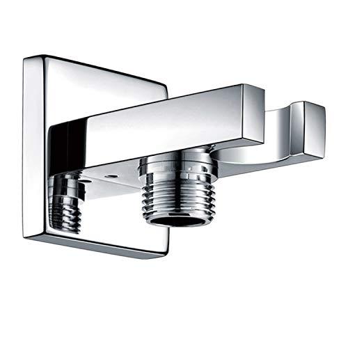 S R SUNRISE SRSH-3027 Messing Brausehalter Quadratisch mit Schlauchanschluss Badezimmer Wandhalter für Handbrause Verchromt SRSB3027, Silver