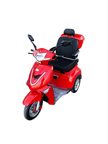 E- Rider TMM 3 Seniorenmobil Seniorenfahrzeug Dreirad ElektroRoller E-Scooter Elektromobil 25 km/h 1000W 3 Rad Farbe Rot