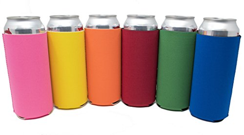 TahoeBay 16oz Can Sleeves - Multi Color Neoprene Beer Coolies - Blank Tall Energy Drink Coolers - Compatible with 16oz Rockstar, Monster (Multicolor, 6)