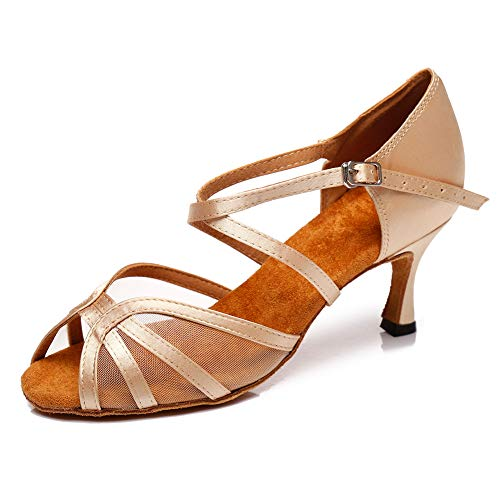 SWDZM Mujer Zapatos de Baile,estándar de Zapatos de Baile Latino,Ballroom Modelo, 3.1'' tacón, Beige 41EU/6UK/25.5CM