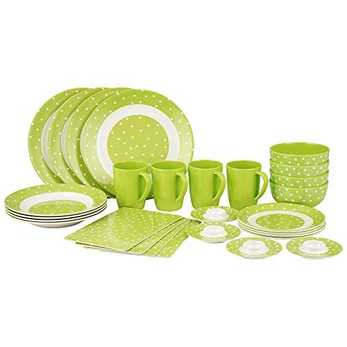 Creativ-Shop Melamin-Set Campinggeschirr Green Dot, 28-teilig, 100 Prozent Melamin, frei von BPA, Camping Geschirr Set, 4 Personen, Kunststoff,