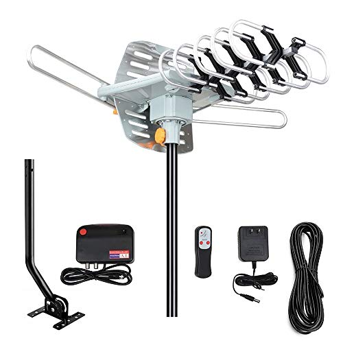 Outdoor Amplified Digital HDTV Antenna 150 Mile Long Range -360 Degree Rotation with Wireless Remote/Mount Pole/33 feet RG6 Coaxial Cable,for UHF/VHF/4K/1080p High Reception-Supports 2 TVs