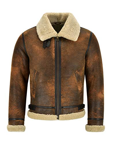 Smart Range Leather Giacca da Uomo in Pelle di Montone B3 Rame Scuro Giacca in Vera Pelliccia di Shearling Reagan (L)