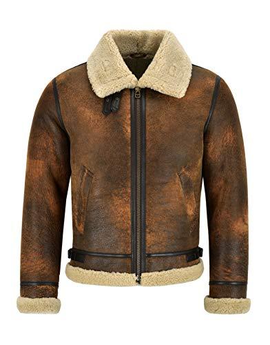 Smart Range Leather Giacca da Uomo in Pelle di Montone B3 Rame Scuro Giacca in Vera Pelliccia di Shearling Reagan (XL)