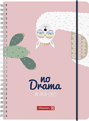 """BRUNNEN 1072150031 """"Lama Drama"""", Wochenkalender/Schülerkalender 2020/2021, 2 Seiten = 1 Woche , Blattgröße 14,8 x 21 cm, A5, PP-Einband"""