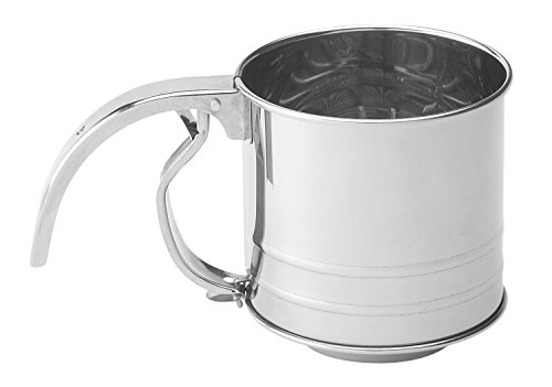 Mrs. Anderson's Baking Hand Squeeze Flour Sifter, Stainless Steel, 1-Cup Capacity
