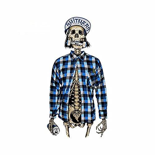 ZCZWQ 13cm x 6.7cm Divertido cráneo Jinete Impermeable Vini