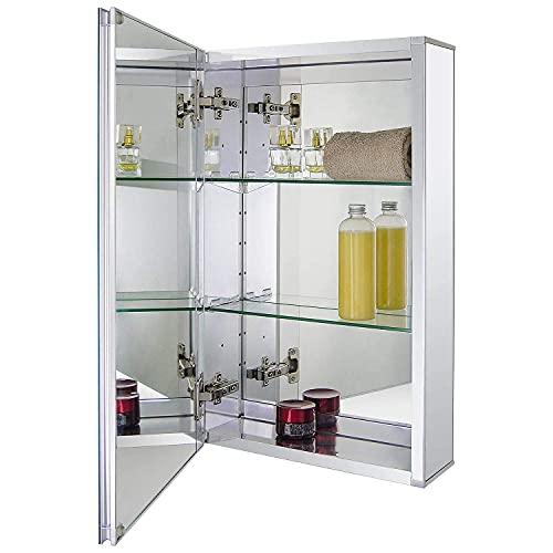 Fundin Aluminium-Badezimmer-Spiegelschrank für Unterputz- oder Aufputzmontage, mit rahmenloser, doppelseitiger Spiegeltür, 38.1 x 61 cm