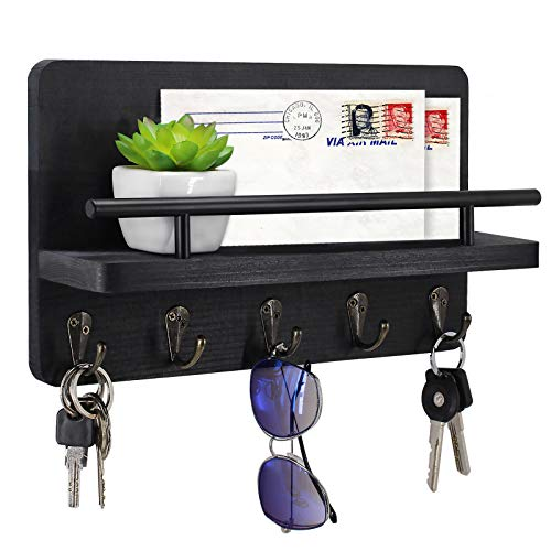 Key Holder and Mail Shelf Wall Mounted, Decorative Wooden Mail Organizer with Shelf, Wood Hanging Mail Sorter with 5 Key Hooks, 100% Pine Wood Letter, Bill and Newspaper Storage Shelf (Black)