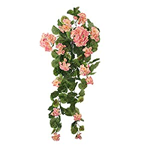 GettyGears Artificial Silk Begonia Flowers Teardrop Swag Vine Garland Fake Hanging Flower Flowers Arrangements for Fences Wedding Party Home Garden Outdoor Ceremony Floral Decor