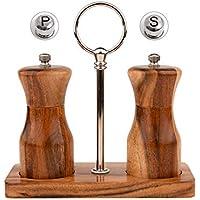 Toursion Salt and Pepper Grinder Set with Wooden Stand