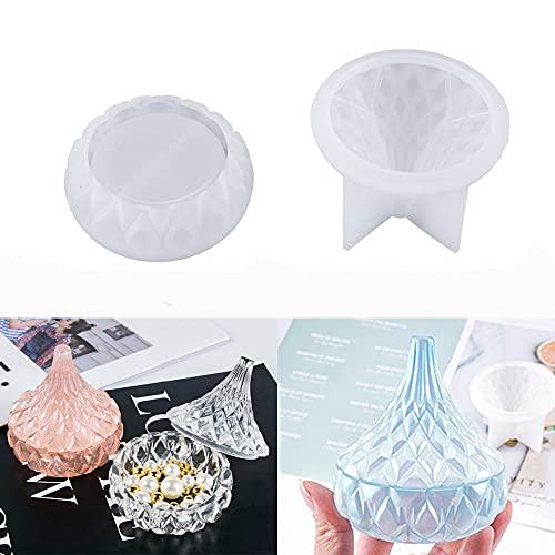 Moldes de resina de caja de almacenamiento, moldes de silicona de caja de joyería con tapa de resina epoxi, moldes de caja de baratija de forma de gota para resina de fundición de arte