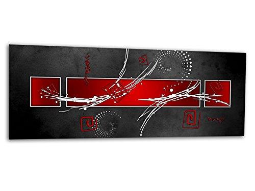 KD Dsign+ XXL Glasbild AG312500115 Mural LINE Style RED 125 x 50 cm/WANDBILD Deco Glass/Handmade/Reduziert!