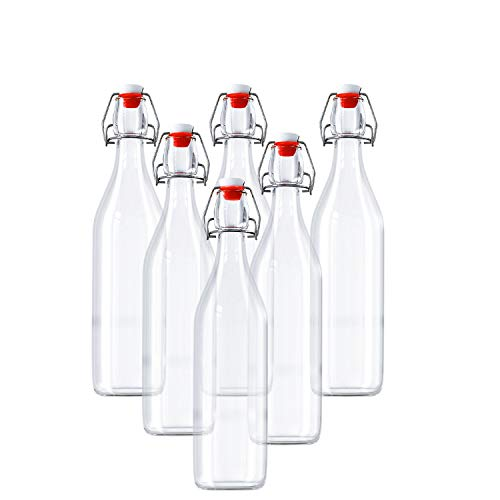 Kurtzy Bouteille en verre avec couvercle - Lot de 6 (960 ml) Bouteille Verre Transparent pour Jus Frais, Vins, Condiments et Plus - bouteilles en verre avec bouchon à étrier