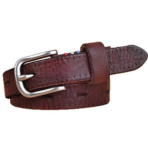 Cinturón de Ms Cinturón de cuero de cuero de la hebilla de la aleación de la aleación de la plata de la mujer de las mujeres Cinturón de piel retro de cuero para pantalones Vestidos de pantalones Jean