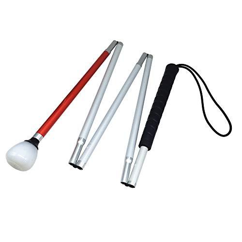 VISIONU Aluminio Baston Blanco Plegable en 5 Secciones para Ciegos y Baja Vision (Mango de Negro, 115 cm (45.3 Pulgada))