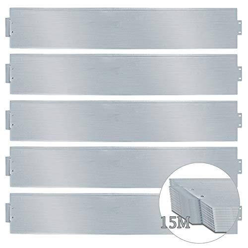 wolketon Rasenkante 15m 100x18cm Metall Beetumrandung verzinkt Mähkante Beeteinfassung - Länge 15m Höhe 18cm Palisade