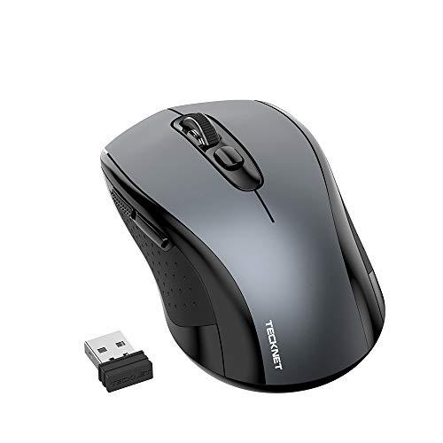 TECKNET Souris sans Fil Silencieuse, 2.4G Souris avec 6 Boutons, 3 DPI Adjustable 1000/1500/2000 Optique Souris Compatible pour MacBook, Portable, Ordinateur de Bureau