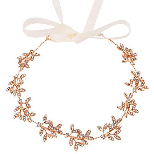 ArtiDeco Braut Haarband Silber Kristall Blinkender Braut Haarschmuck Handgefertigtes Vintage Braut Stirnband Braut Hochzeit Accessoires Party Stirnband (Stil 1 - Rose Gold)