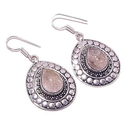 Pendientes colgantes de cuarzo rutilado marrón con piedra preciosa de pera de cabujón chapado en plata hechos a mano para mujer