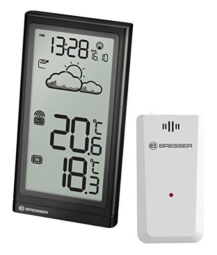 Bresser Wetterstation Funk mit Außensensor Meteo Temp mit Temperaturanzeige für Innen- und Außen, Datumsanzeige, Wettertrend-Anzeige, mit ausklappbarem Standfuß und Wandhalterung