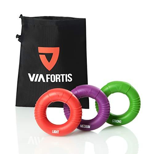 VIA FORTIS® Premium Handtrainer – Fingertrainer Set aus 3 Ringen inkl. Tasche – Anti-Stress Griffkraft Trainer für stärkere Unterarme und besseren Griff