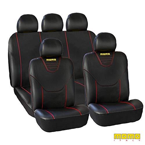 Momo Italy SC034BR - Juego de cubre asientos universales, Negro/Rojo