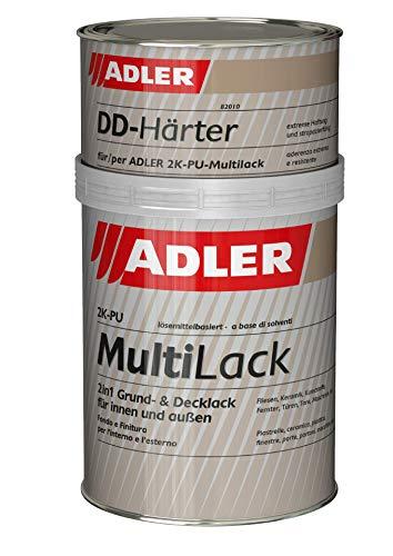 ADLER Fliesenlack matt Grau, RAL7035 Lichtgrau - 1 kg inkl. Härter - Hochwertige Fliesenfarbe mit hervorragenden Hafteigenschaften für diverse Untergründe, Grund- und Decklack