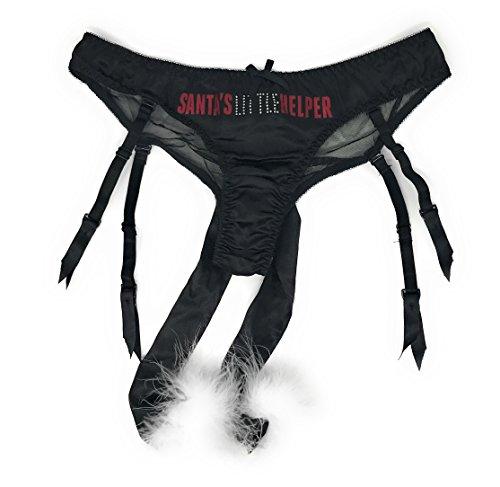 Victoria's Secret Santa's Helper Bikini Panty Large Black