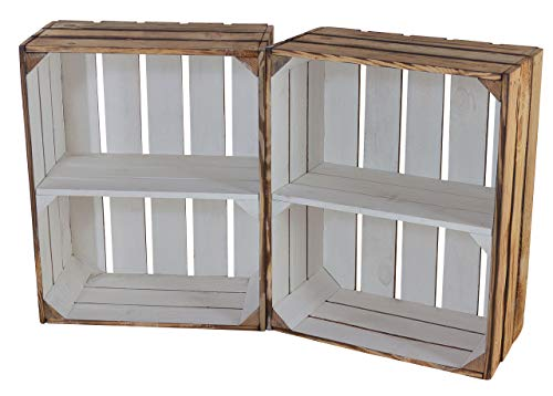Moooble Neue geflammte Holzkisten, innen weiß, mit Mittelbrett, Hochformat | 50x40x22cm | schönes Balkonregal für Topfpflanzen, Deko (4)