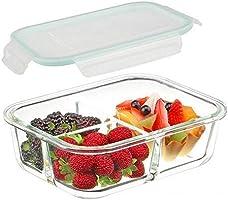 DITYA ENTERPRISE 3 Compartment Rectangular Glass Storage Bowl Set with Clamp Plastic Multicolor Lid (1000ML)