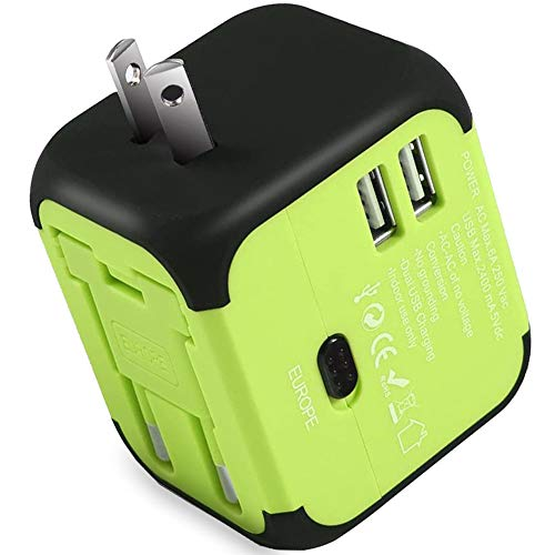 Maxracy International Travel Power Adapter with 2.4A Dual USB Charger and Built-in...
