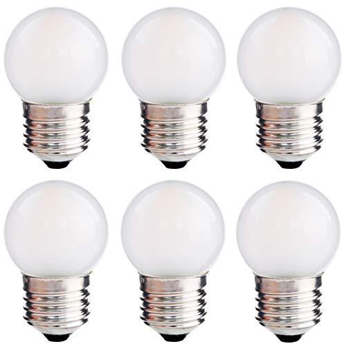 LED G40 Led Replacement Light Bulbs 1.5W Cool White 6000K G14 LED Energy Saving Bulb 15 Watt Equivalent LED Lights Standard Base E26 for Indoor Outdoor Patio Decor, Refrigerator, 150 Lumen Pack of 6
