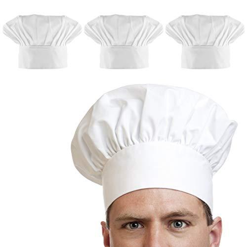 COCOCITY 3 Stück Kochmütze mit einstellbar Gummiband Küchenmütze Baumwolle Gastromütze für Restaurant, Kochen, BBQ, Hotel, Kochschule, Kostüm Weiß (Unisex)